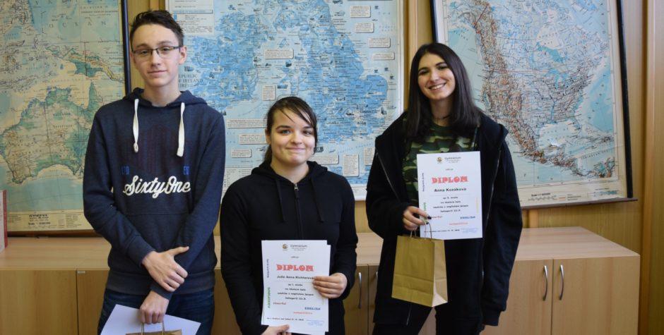 Školní kola soutěže v anglickém jazyce – výsledky