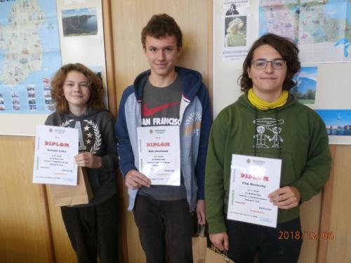V kategorii II.B školního kola soutěže v AJ (studenti primy a sekundy) se umístili na prvních třech místech: Dan Jarolímek (2.C), Samuel Liška (1.C) a Filip Mostecký (2.C).